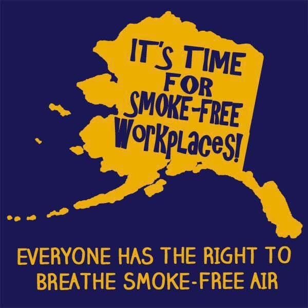 Graphic of state of Alaska with caption It's Time for Smokefree Workplaces