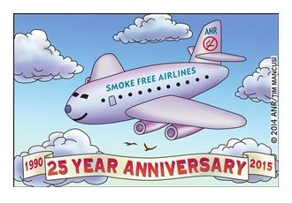 Cartoon of smokefree airplane